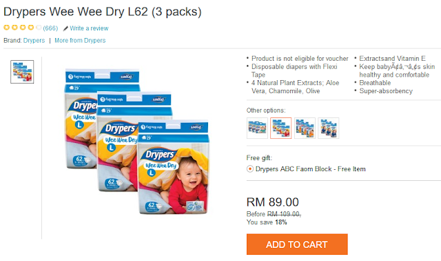 Drypers Wee Wee Dry Murah