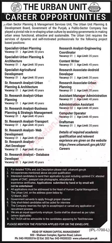 Latest Jobs in Pakistan in The Urban Unit Punjab Jobs 2021