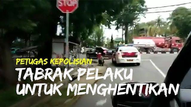 Video detik-detik Polisi Kejar Pengendara Mobil yang Terobos Razia, Polisi Tabrak Mobil Pelaku