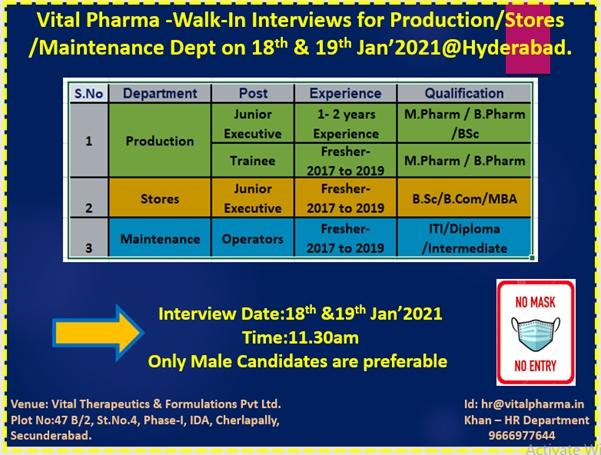 Vital Pharma | Walk-in for Freshers and Experienced on 18th & 19th Jan 2021