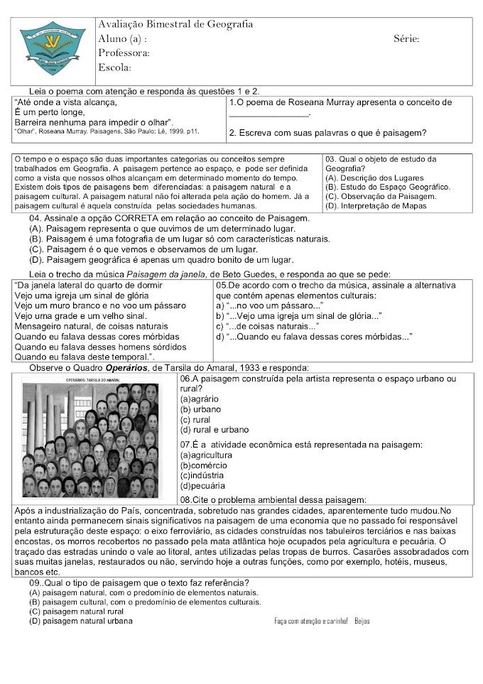 Avaliação Bimestral de Geografia 6º Ano.