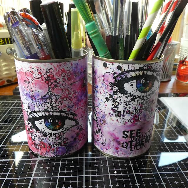 handmade desk pots | stamping