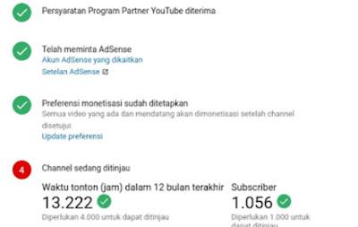 Ciri Ciri Channel YouTube Di Terima Atau Tidak Saat Sedang Di Tinjau