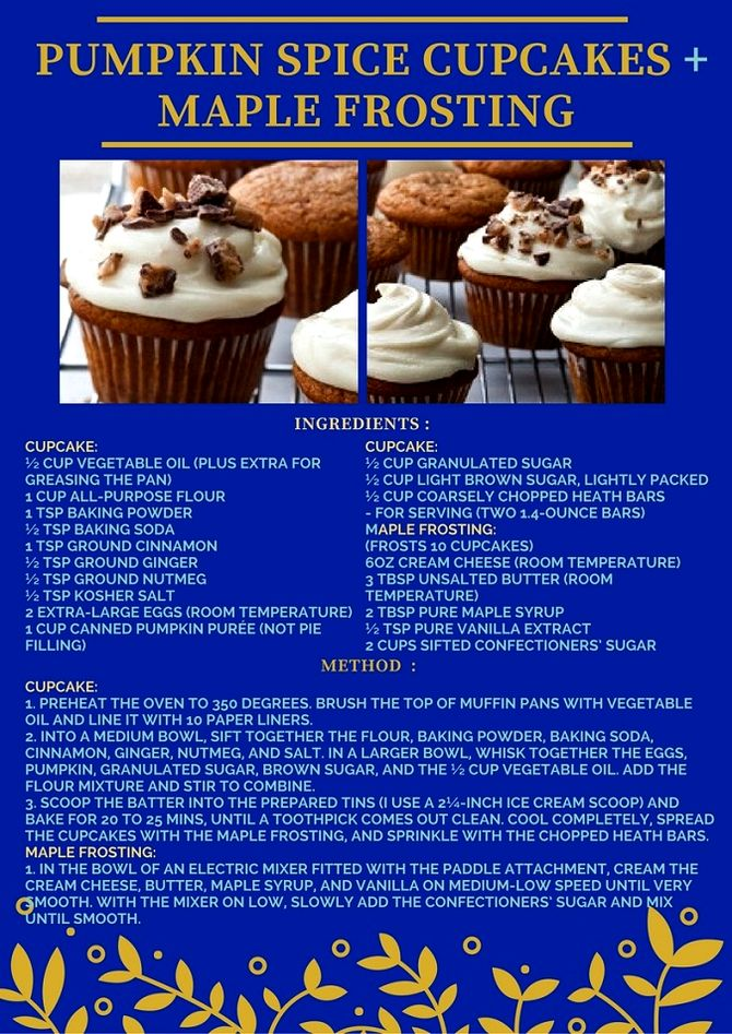 PUMPKIN SPICE CUPCAKE WITH MAPLE FROSTING RECIPE