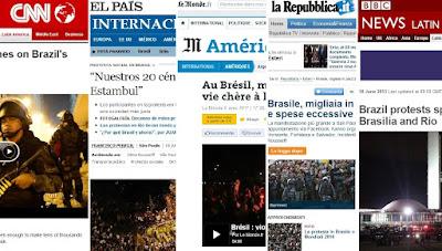A mídia mundial destacam e comentam as manifestações golpistas do Brasil em 2013.