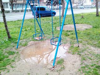 Swings, Chiildren, Rain Snow, Thaw, Swingers, Yambol,
