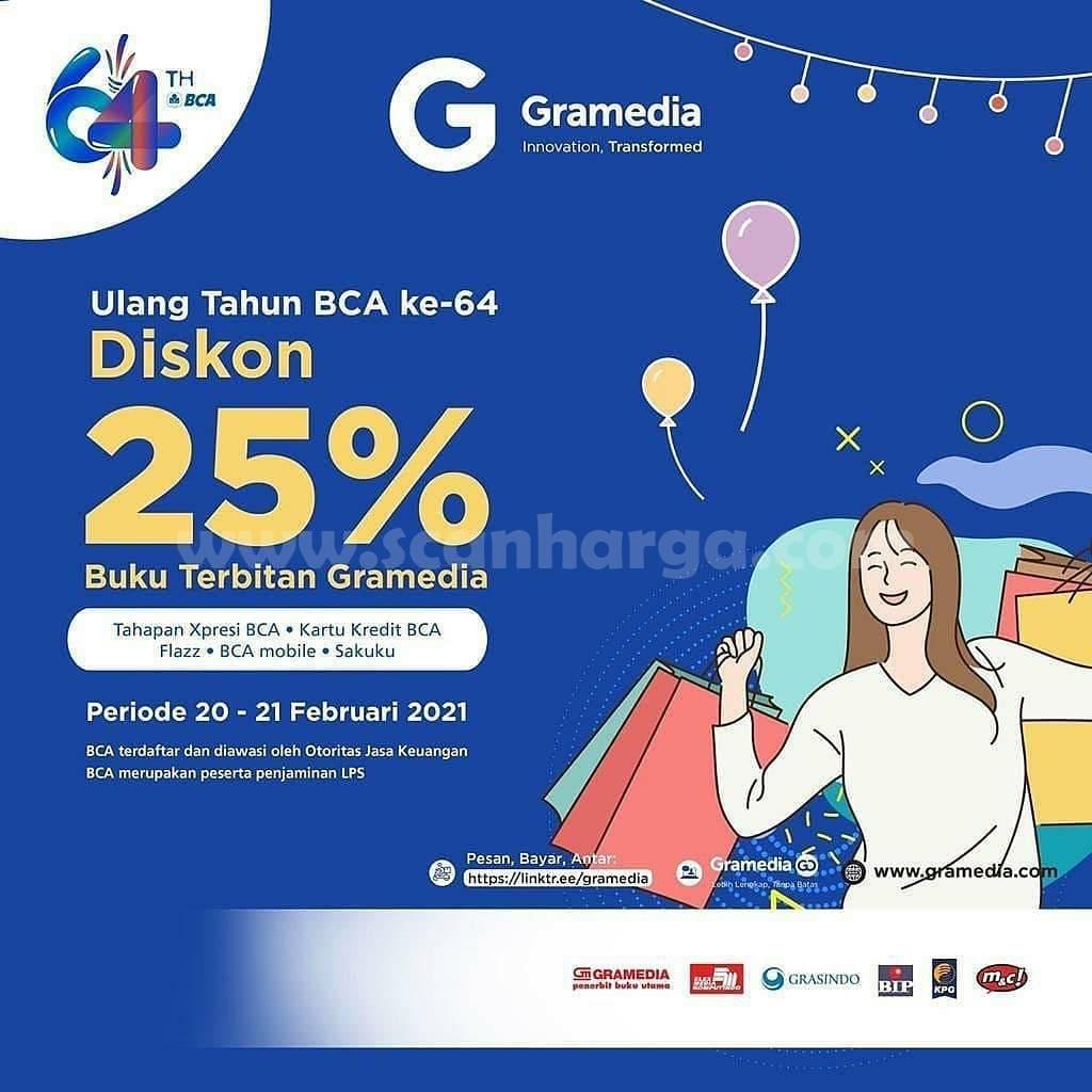 GRAMEDIA Promo HUT BCA 64 – Discount 25% Buku Terbitan Gramedia