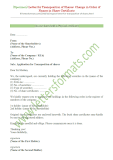 Letter for Transposition of Shares: Change in Order of Names in Share Certificate