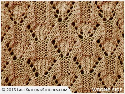 LACE KNITTING #8 |  Eyelet Diamonds stitch - Wrong side