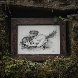 Unguentum Sabbati, Framed original piece by Victoria Francés