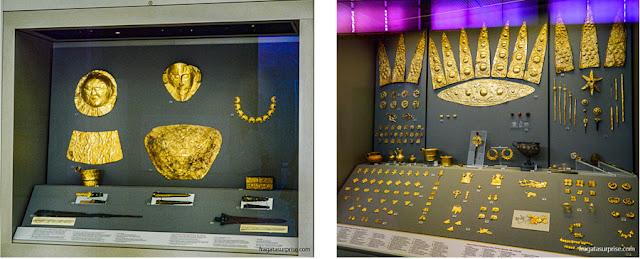 Máscara de Agamenon e peças do Tesouro de Atreu, no Museu Nacional de Arqueologia de Atenas, Grécia