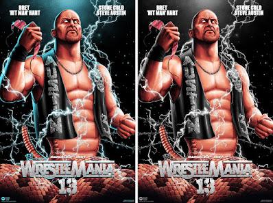 "WrestleMania 13 ""Stone Cold Steve Austin vs Bret Hart"" WWE Screen Print by Matt Ryan Tobin x Mondo"