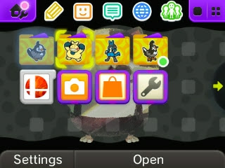 Nintendo Badge Arcade Starly Makuhita Lucario Staravia 3DS home menu screen Splatoon theme