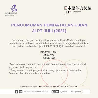 Ujian Bahasa Jepang JLPT Juli 2021 Dibatalkan