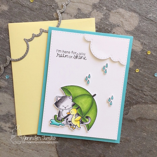 Cat and Umbrella Card by Jennifer Timko | Newton's Rainy Day stamp set and die set by Newton's Nook Designs #newtonsnook