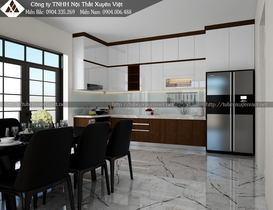 Mẫu tủ bếp nhựa laminate, acrylic nhà anh Thường - Kiến An, Hải Phòng