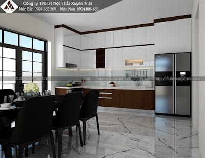 Mẫu tủ bếp laminate vân gỗ và trắng acrylic kịch trần