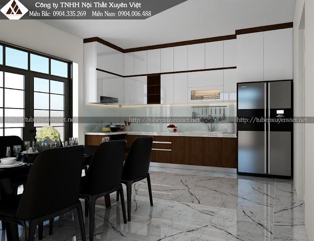 Mẫu tủ bếp nhựa laminate màu vân gỗ hiện đại nhà chung cư