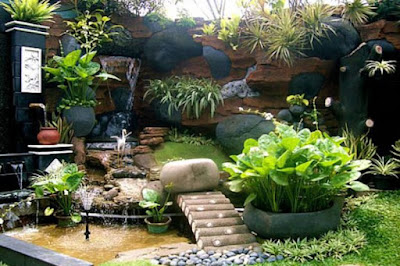 Waterfall and landscaping design idea for home