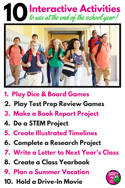 Looking for interactive activities to use at the end of the school year? Keep students engaged - and learning with these ten lesson ideas!