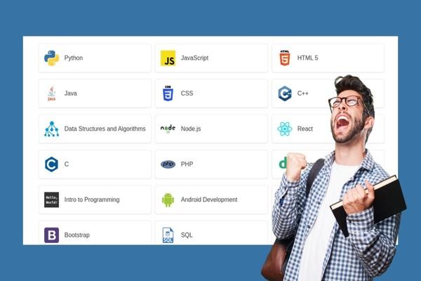 محرك بحث للعثور على أفضل الدورات المصنفة لتعلم لغات البرمجة المختلفة من جهازك فقط