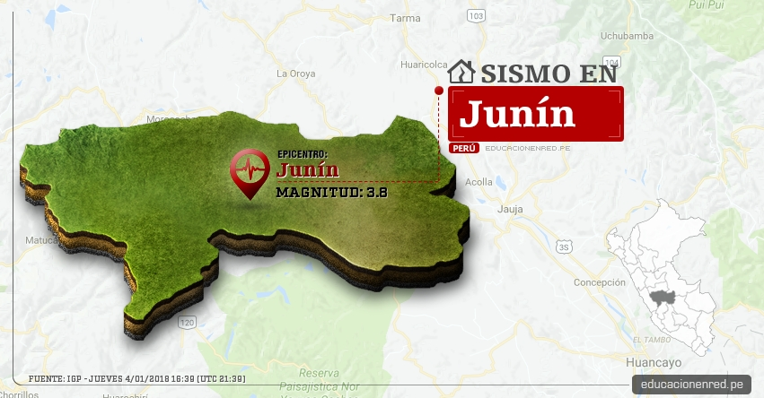 Temblor en Junín de 3.8 Grados (Hoy Jueves 4 Enero 2018) Sismo EPICENTRO Junín - IGP - www.igp.gob.pe