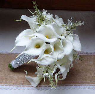 Silk White Calla Lily Wedding Bouquet