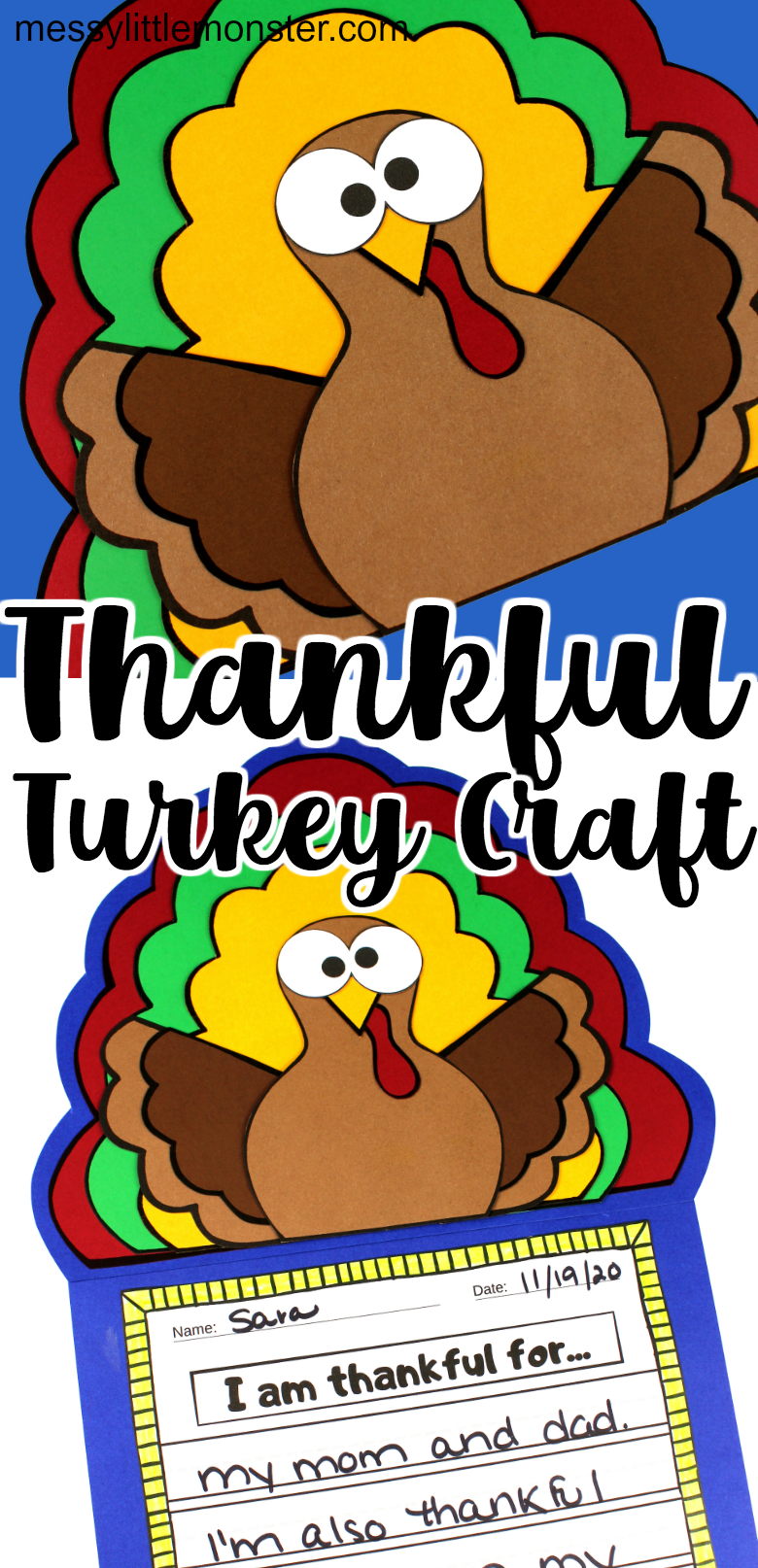 Thankful turkey craft for kids with Thanksgiving I am thankful for printable.