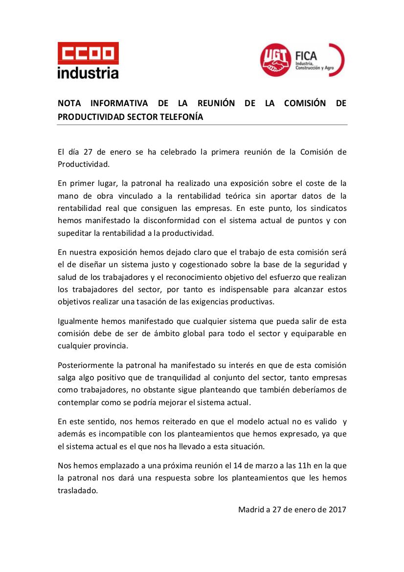 INFORMACIÓN SOBRE LA REUNIÓN DE LA COMISIÓN PARITARIA DE PRL Y ...