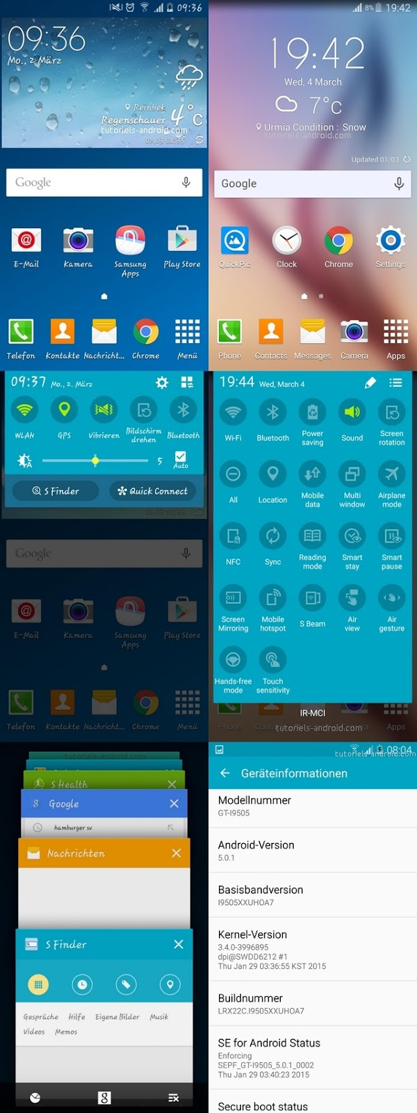 Captures d'écran : I9505XXUHOA7