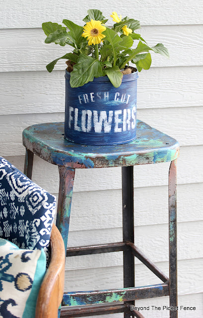 Thrift Store Porch Decor and Stenciling a Flower Container
