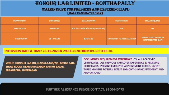 Honour Lab | Walk-in for Freshers and Experienced on 28 &29 Nov 2020