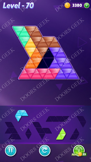 Block! Triangle Puzzle Advanced Level 70 Solution, Cheats, Walkthrough for Android, iPhone, iPad and iPod