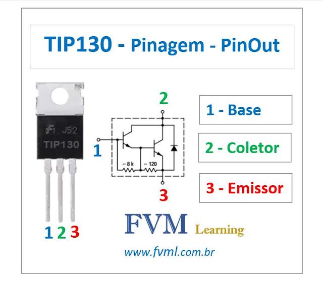 Pinagem - Pinout - Transistor Bipolar - NPN - TIP130 - Características