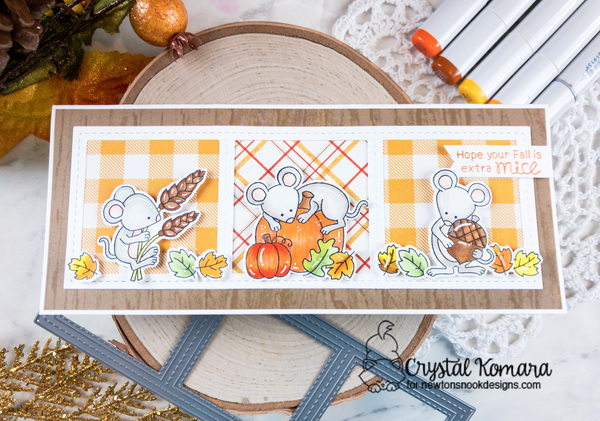 Hope your fall is extra mice by Crystal features Autumn Mice and Slimline Frames & Windows by Newton's Nook Designs; #newtonsnook