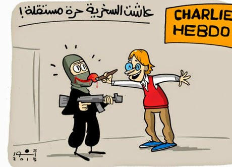 Arab Newspapers React To 'Charlie Hebdo' Attacks With Cartoons Of Their Own - From Anwar in Al-Masry Al-Youm