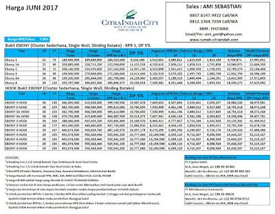 Harga Bukit Ebony Citra Indah City JUNI 2017