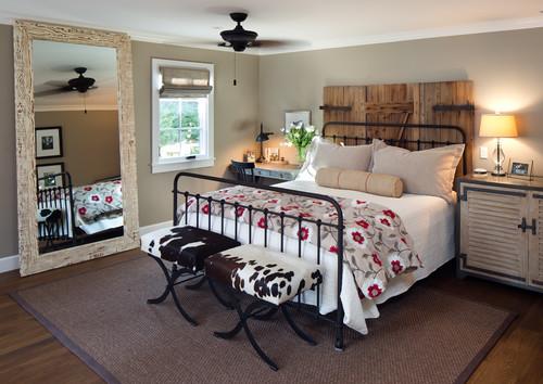Decoração de quarto no estilo casa de fazenda ou sítio