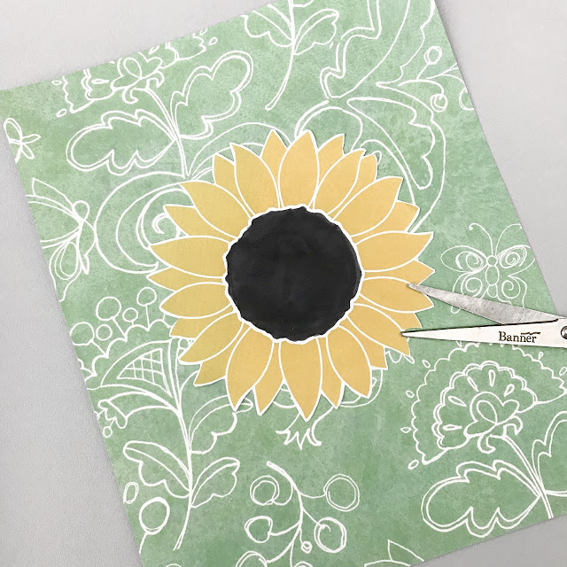 Sunflower mounted on the craft paper