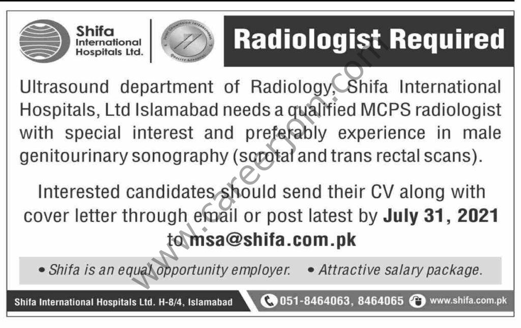 Shifa International Hospitals Ltd Jobs Radiologist