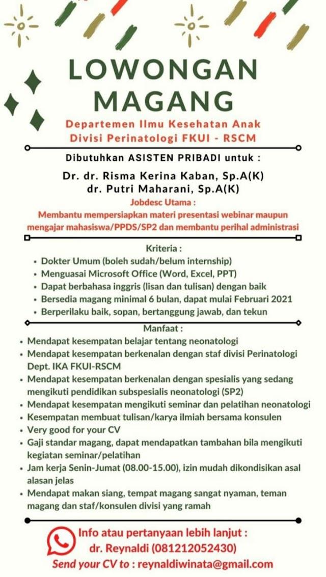 Loker Magang Departemen IKA Divisi Perinatologi FKUI-RSCM
