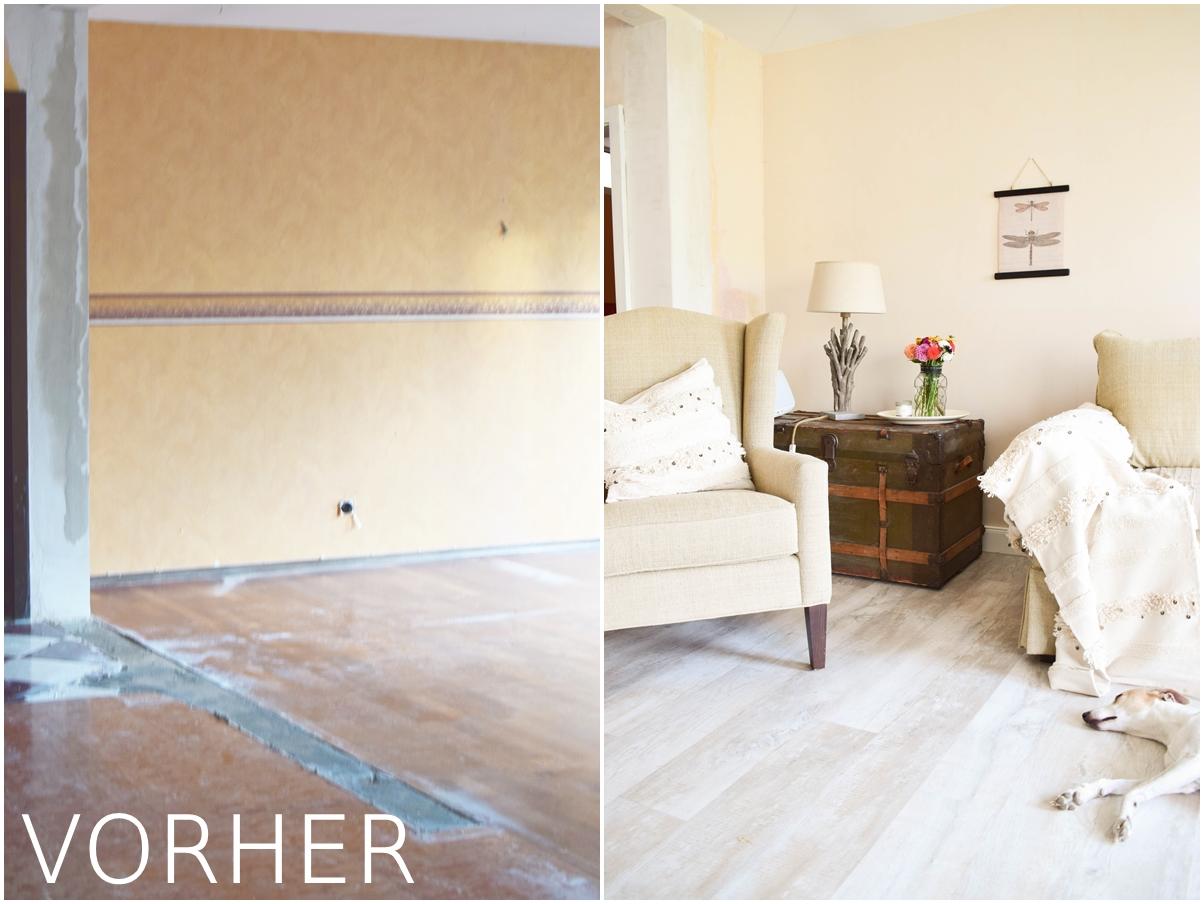 Renovierung Wohnzimmer neuer Boden neue Farbe