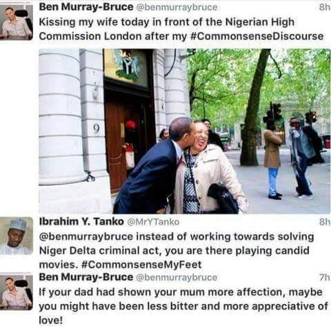 Senator Ben Murray-Bruce blasts Twitter user for dropping a negative comment on his wife's picture