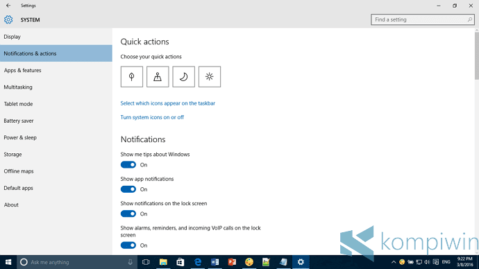 settings di windows 10