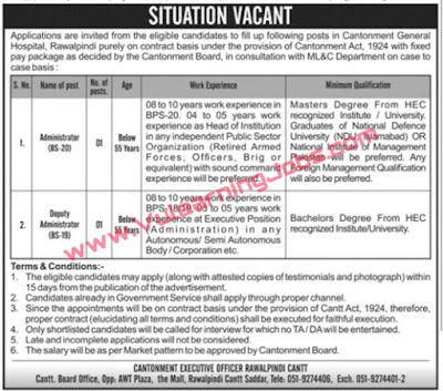 Cantonment General Hospital Jobs 2019 For Administrator And Deputy Administrator Latest