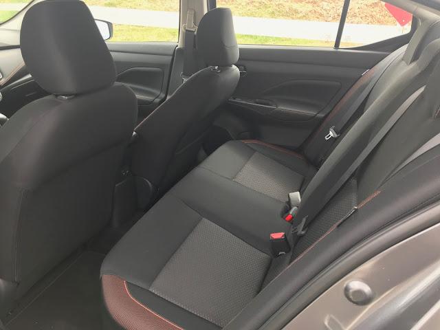 Rear seat in 2020 Nissan Versa SR