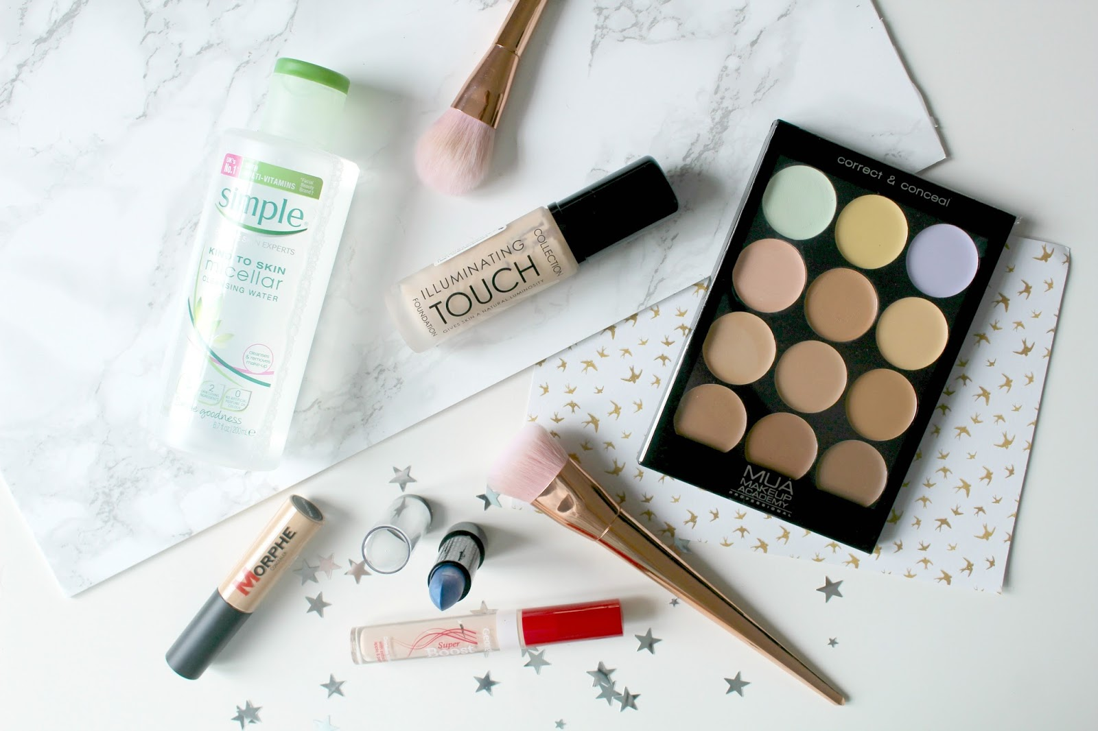 disappointing products round-up, disappointing products 2017, simple micellar water, mua make-up academy conceal and correct palette, george asda super boost concealer, morphe concealer, stargazer lipstick 105, collection illuminating touch foundation, review