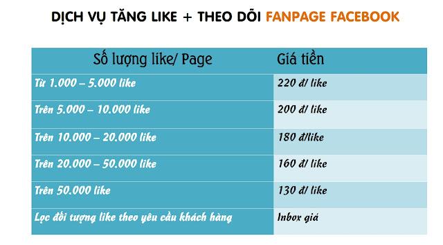 Bang gia dich vu tang like sub fanpage facebook