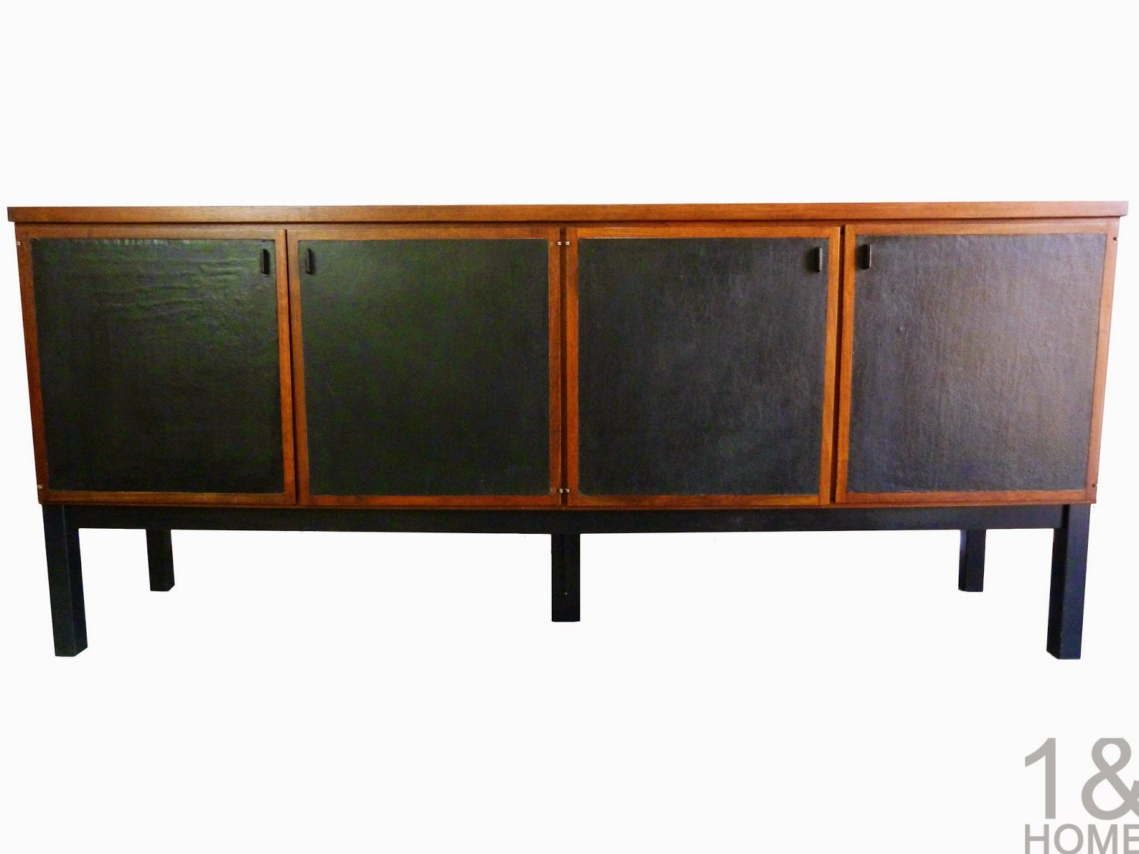 Mid-Century Walnut Leather Door Credenza