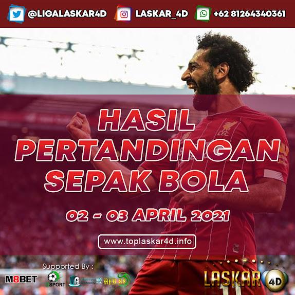HASIL BOLA JITU TANGGAL 02 - 03 APRIL 2021